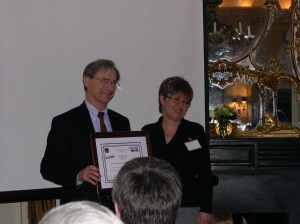 Arthur F. Pease receiving his BEST OF SHOW award from STC-DC VP Lina Scorza