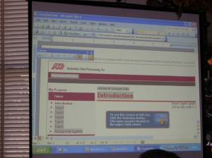 ADP's MS Word storyboard of HTML tutorial interface