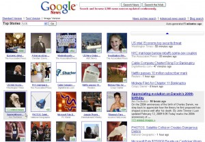 First layer of Google's visually-indexed news links