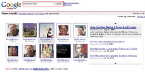 Advanced Search results for Google's visually-indexed news links