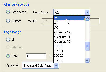 Cropping offers a drop-down list of standard page sizes