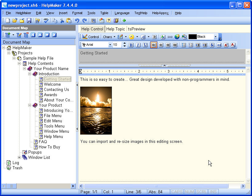 Within minutes you can create a new help project inside HelpMaker, complete with images and text formatting