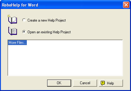 RoboHelp for Word Opening Dialog Box