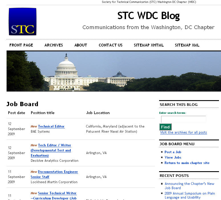 STC Washington DC Chapter Job Board