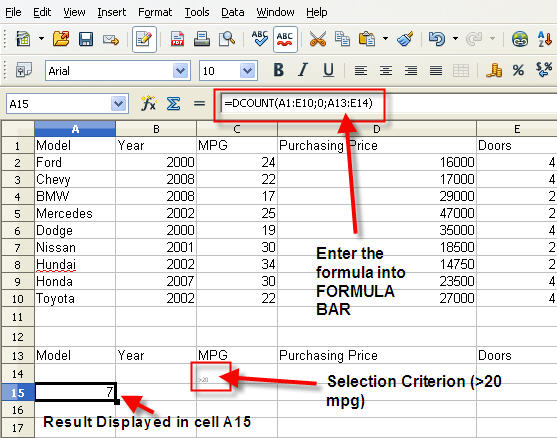 How to Count the Number of Selected Records in a Dataset by OpenOffice CALC's DCOUNT Function