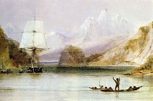 Charles Darwin's research ship BEAGLE somewhere off the coast of South America