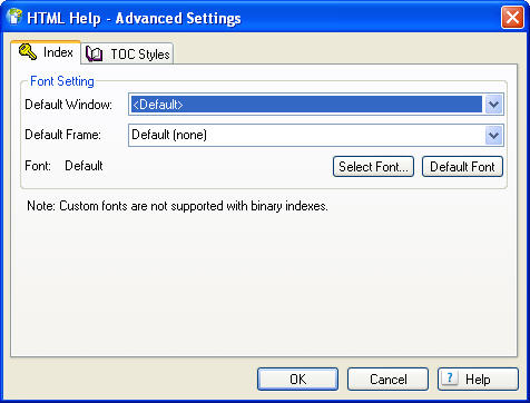 "Adobe RoboHelp 8 ""Advanced Settings"" TOC Tab"