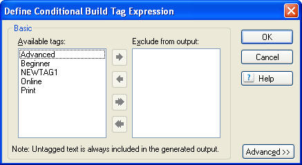 RoboHelp 8 - Define Conditional Build Tag Expression