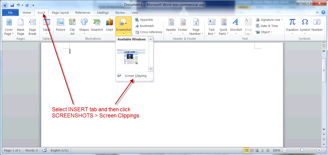 How To Delete A Blank Page In Microsoft Word 1open Word 2010 Ms Word 2007  Insert