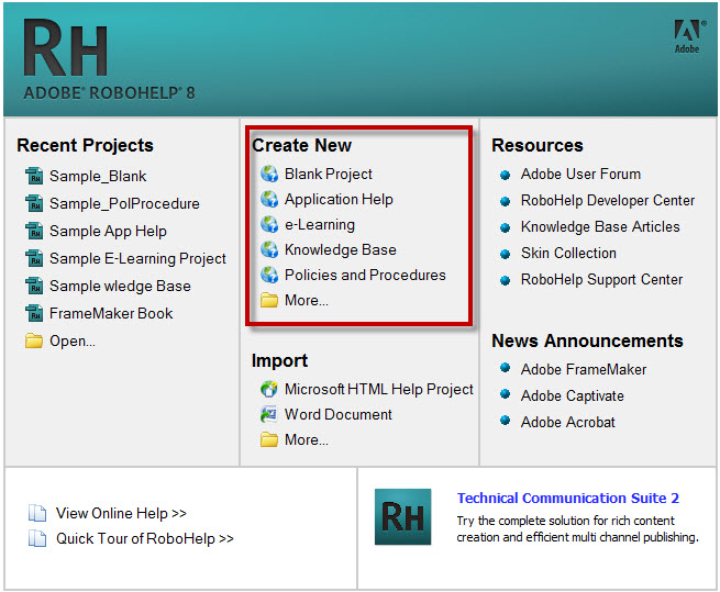 Robohelp 8 offer many help project types