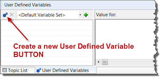 RoboHelp 8 Create a new User Defined Variable Button