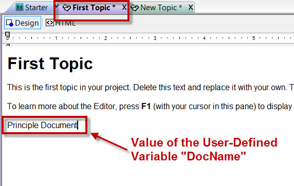Inserting a user-defined variable into a RoboHelp 8 topic