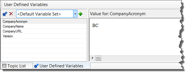 RoboHelp 8 E-Learning project User-Defined Variables Pod