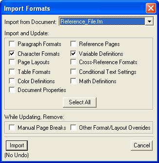FrameMaker Import Formats Dialog Box