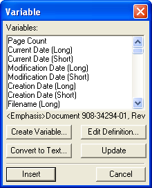 FrameMaker Variable Dialog Box