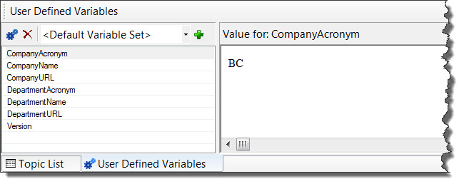 RoboHelp 8 Knowledge Base project User-Defined Variables Pod