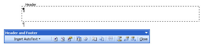 MS Word 2003 Header and Footer tool bar