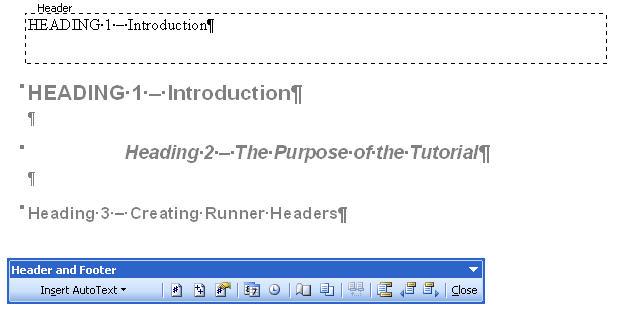 MS Word 2003 Heading 1 tag inside Header