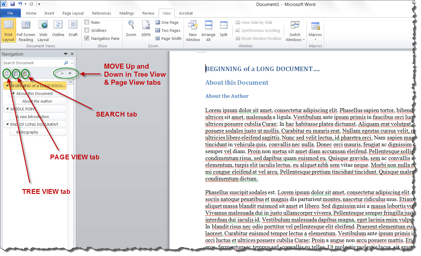 How to Use MS Word 2010\'s Navigation Pane | Technical Communication ...