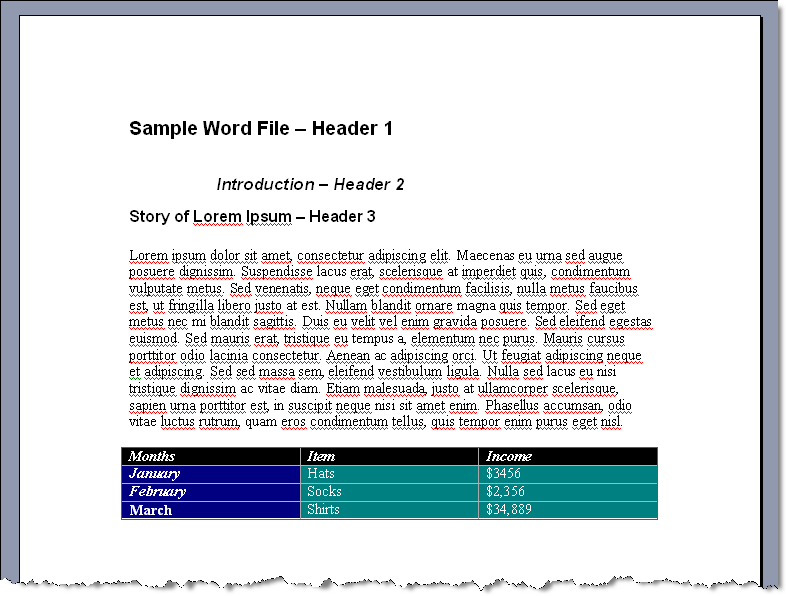 Sample Word File - how to copy and paste from Word to FrameMaker