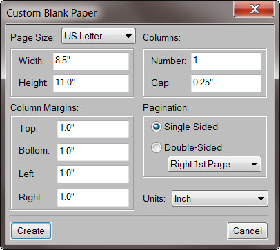 Adobe FrameMaker 9 Custom Blank Paper Dialog Box