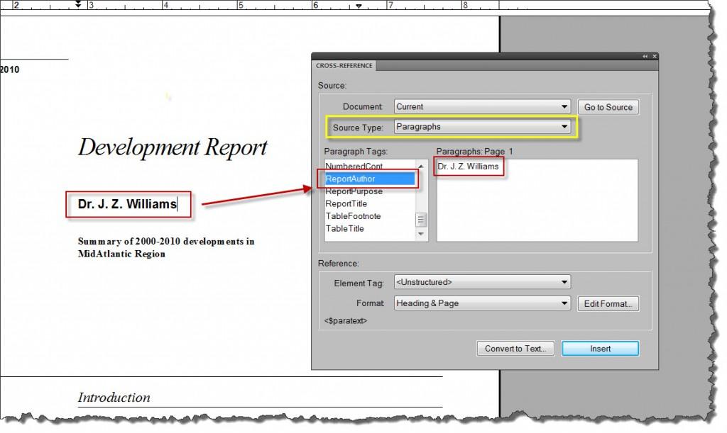 Adobe FrameMaker 9 Cross-Reference Dialog Box