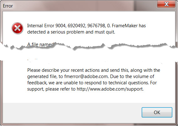Adobe FrameMaker 9 Unkown File Type ERROR message