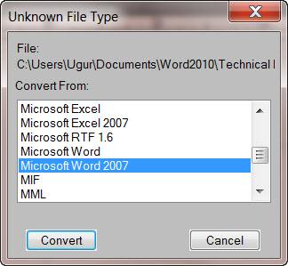 Adobe FrameMaker 9 Unkown File Type dialog box