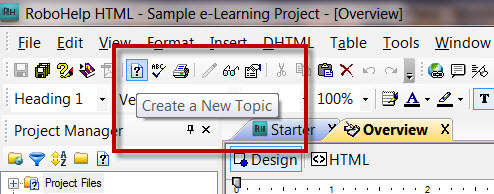 Adobe RoboHelp 8 Create a New Topic