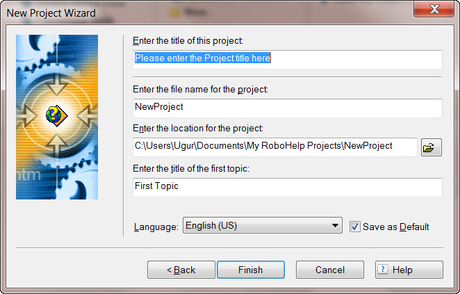 Adobe RoboHelp 8 New Project Wizard