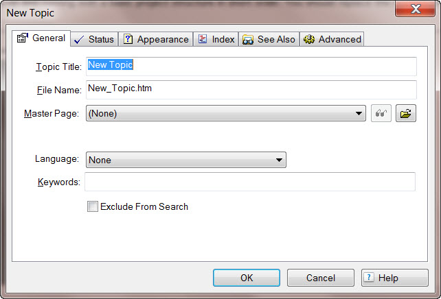 Adobe RoboHelp 8 New Topic Dialog Box