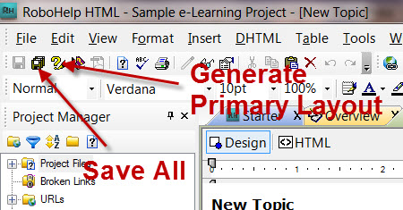 Adobe RoboHelp 8 Toolbar buttons