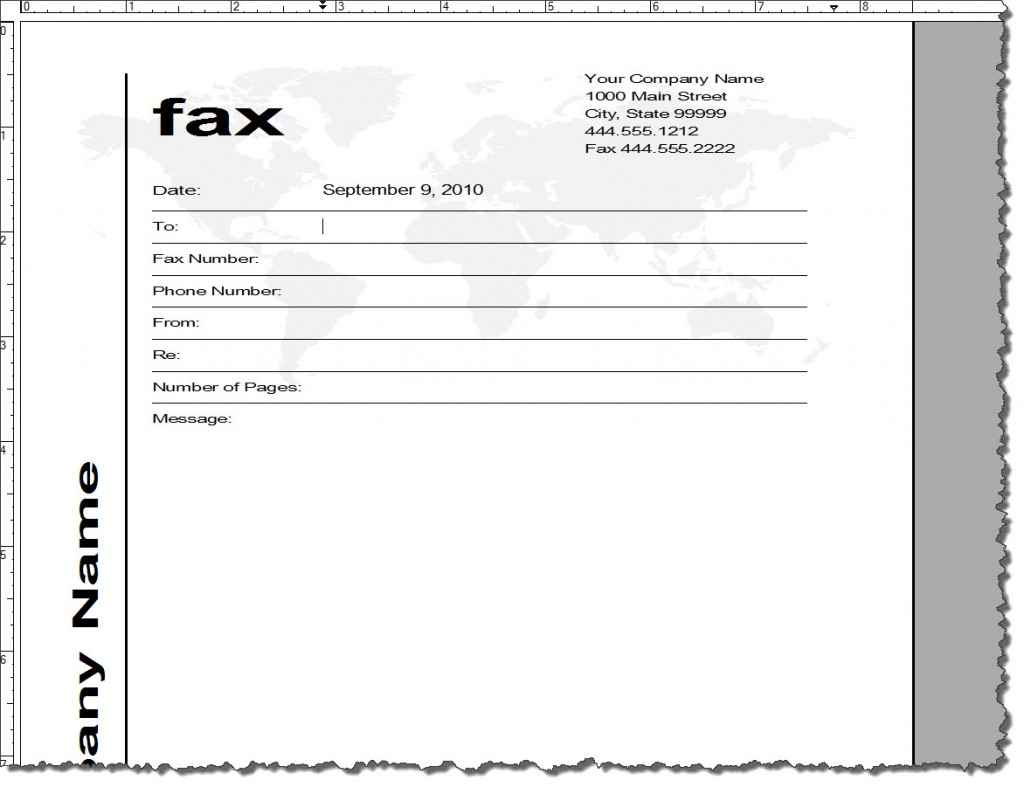 Default Templates in Adobe FrameMaker 9, Fax Template