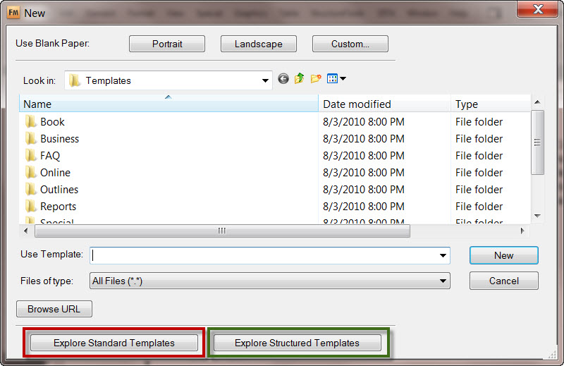 Default Templates in Adobe FrameMaker 9, New Document Screen