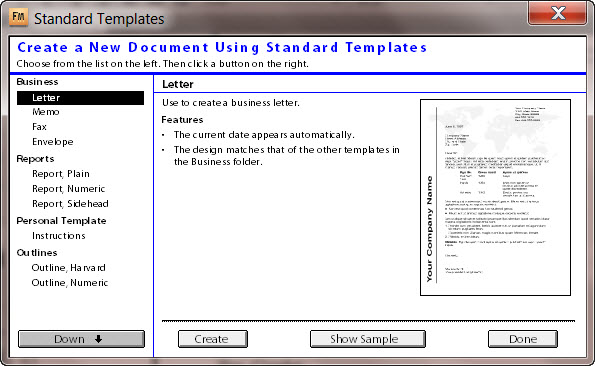 Default Templates in Adobe FrameMaker 9, Standard Templates Screen