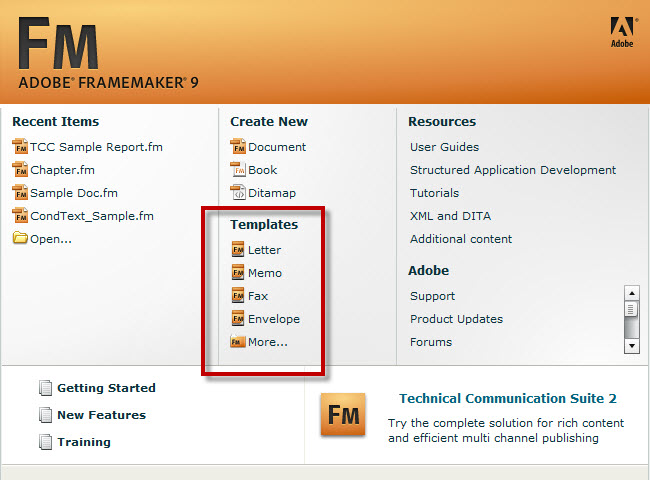 Default Templates in Adobe FrameMaker 9, Starter Screen