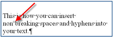 MS Word 2003 Nonbreaking Spaces and Hyphens DEGREE SYMBOL