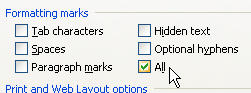 MS Word 2003 Nonbreaking Spaces and Hyphens FORMATTING MARKS