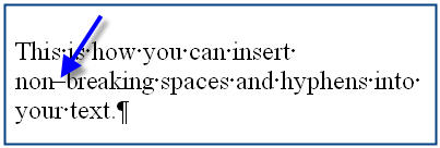 MS Word 2003 Nonbreaking Spaces and Hyphens HYPHEN SYMBOL