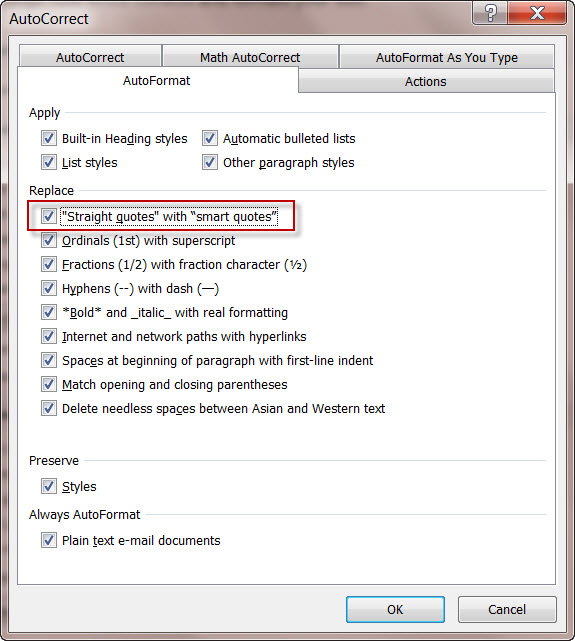 MS Word 2010 AutoCorrect screen Smart Quotes (2)
