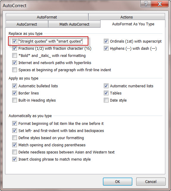 MS Word 2010 AutoCorrect screen Smart Quotes
