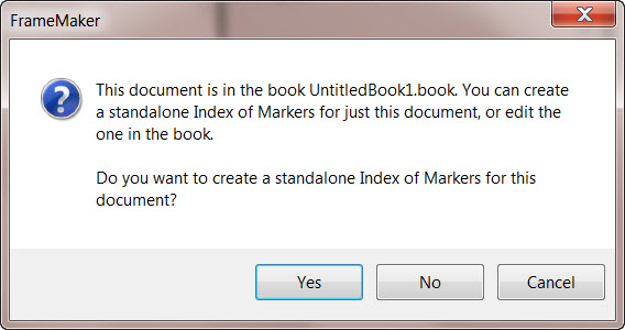 Adobe FrameMaker 9 Index Creation Message Box