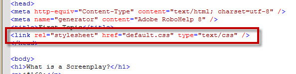 Adobe RoboHelp 8 Linked EXTERNAL CSS File