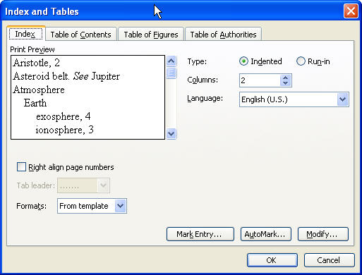MS Word 2003 Index and Tables dialog box