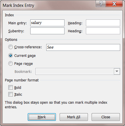 MS Word 2010 Mark Index Entry