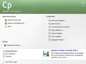 Adobe Captivate 5 Start Screen