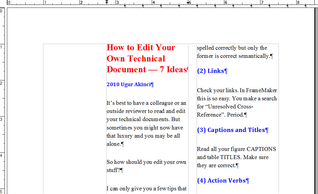 FrameMaker 9 Page Layout 2 COLUMN DOCUMENT