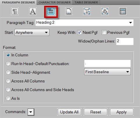 FrameMaker 9 Page Layout PAGINATION TAB