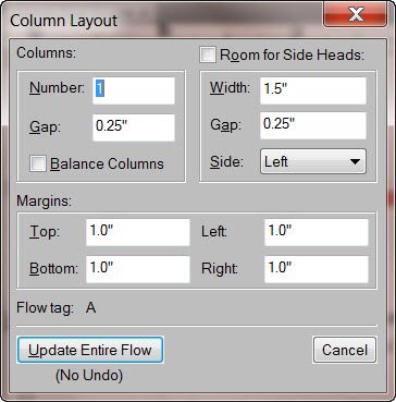 FrameMaker 9 Page Layout Dialog Box