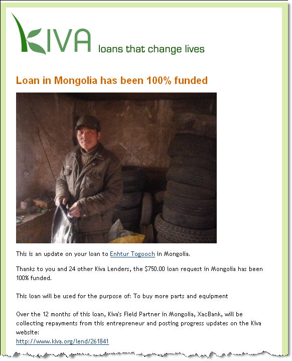 Donate MICRO LOANS to KIVA today
